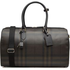 Burberry Shoes & Accessories House Check Travel Bag ($1,375) ❤ liked on Polyvore featuring men's fashion, men's bags, brown, mens leather duffle travel bag, mens duffle bags, mens travel bag and burberry mens bag