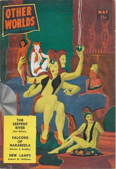 """Other Worlds Science Stories. Final issue. The cover """"art"""" was done by Ray Palmer, the magazine's editor, who apparently didn't have enough money left to pay a real artist. Three heads, four hands and a phallic mike. Hmmm."""