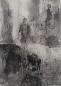 Moving Figures and Mirror, charcoal on paper, 2013