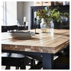Butcher Block Dining Table, Dinning Room Tables, Dining Table In Kitchen, Modern Rustic Dining Table, Ikea Dining Table Hack, Ikea Dining Room, 12 Person Dining Table, Black Dining Room Table, 8 Seater Dining Table