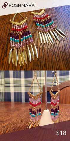 """Gypsy Girl Gold Beaded Earrings 4 1/2"""" long from the top of the ear wire to the bottom of the longest strand and it's just the way I like them.. do you? Glass beads and gold toned findings make up this very beautiful pair of earrings. Jewelry Earrings"""