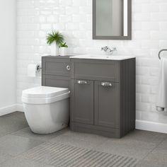 Nottingham 600 Grey Combination Unit with Aurora Back to Wall Toilet - Grey Bathroom Tiles, Bathroom Vanity Units, Bathroom Toilets, Grey Bathrooms, Bathroom Flooring, Small Bathroom, Bathroom Ideas, Bathroom Shower Suites, Modern Bathroom