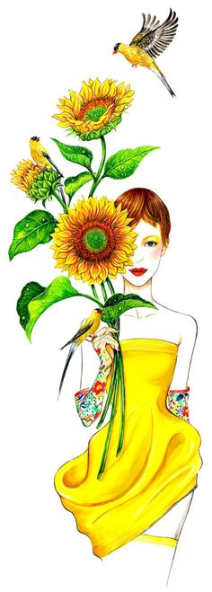 Sunny Gu, short for Gurlukovich, is a successful fashion illustrator from Los Angeles.  She love joyful vibrant images such as this one.