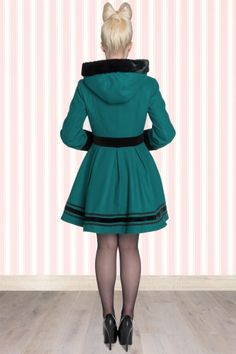 Vintage Mikaela Hooded Winter Swing Dream Coat in Teal