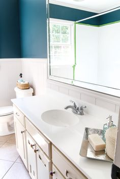 Diy Painted Bathroom Sink Countertop - Bless er House within Bathroom Paint Colo. Diy Painted Bathroom Sink Countertop - Bless er House within Bathroom Paint Color With Marble - Best Home Decor Ideas Counter Top Sink Bathroom, Bathroom Sink Decor, Beige Bathroom, Diy Bathroom Remodel, Paint Bathroom, Bathroom Marble, Bathroom Ideas, Counter Tops, Kohler Bathroom