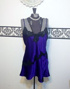 1980's Victoria's Secret Gold Tag Royal Purple and Black Negligee, Size Medium, Vintage Victoria's Secret Pin Up Teddy, VS Boudoir Nightie by RetrosaurusRex on Etsy