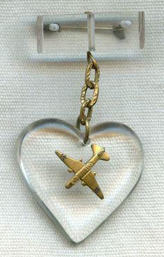 WWII USAAF Douglas A-20 Havoc Bomber Sweetheart Pin in Aircraft Windshield Plexiglass