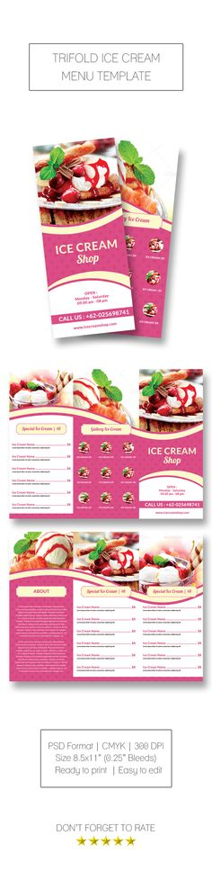 Trifold Ice Cream Menu on Behance