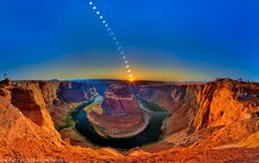 A remarkable image that captures the annular solar eclipse of May 2012 at Horseshoe Bend on the Colorado River in Northern Arizona. Horseshoe Bend is a… Image Nature, All Nature, Amazing Nature, Nature Pics, Beautiful World, Beautiful Places, Beautiful Pictures, Beautiful Scenery, Stunning View