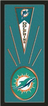 Miami Dolphins Wool Felt Mini Pennant & Miami Dolphins Team Logo Photo - Framed With Team Color Double Matting In A Quality Black Frame-Awesome & Beautiful