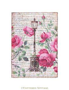 French Script Digital Download no.435 Lamppost Art Card Antique Wallpaper Collage Sheet Tattered Vintage 435