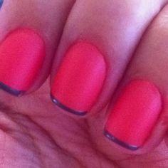 Orange + gray nails