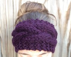 Eggplant purple chunky cable knit headband by OliveBegonia on Etsy