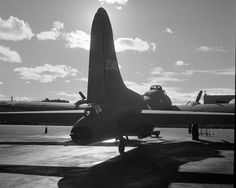 Tail view of a new (Flying Fortress) bomber ready for flight tests at the airfield of Boeing's Seattle plant. The Flying Fortress has performed wit… United States Army, South Pacific, Wwii, Air Force, Fighter Jets, Seattle, Aviation, Aircraft, Plants