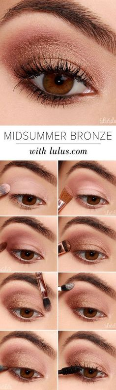 16 Easy Step-by-Step Eyeshadow Tutorials for Beginners: #7. Glittery Bronze Look – Step by Step Eyeshadow Tutorial for Brown eyes
