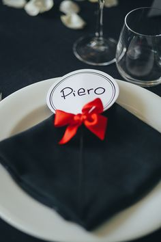 Wedding Place Card Candy Cane Black White Red Ribbon