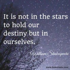 It is not in the stars to hold our destiny but in ourselves, shakespeare quote Enough Is Enough Quotes, Shakespeare Quotes, Motivation Inspiration, Destiny, Favorite Quotes, Quotations, Hold On, Funny Quotes, Inspirational Quotes