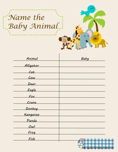 baby shower games | free printable name the baby animal game for baby shower