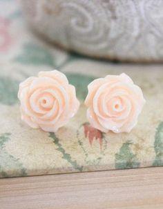 Light Peach Rose Earrings, Stud Earrings, Surgical Steel Posts, Flower Jewelry, Floral Accessories