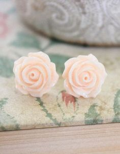 Light Peach Rose Earrings, Stud Earrings, Surgical Steel Posts, Flower Jewelry, Floral Accessories