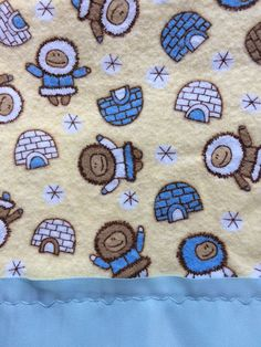 Flannel Yellow Parkas and Igloos Pillowcase