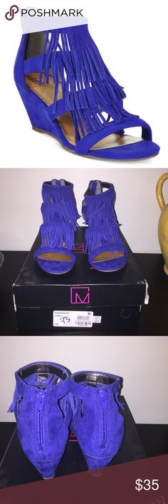 Hannah-Demi Cobalt Blue Fringe Wedge Size 8 Material Girl cobalt blue fringed wedge. 2-3/8 inch wedges heel with zipper closure on back heel. Box is a little banged up. Worn a couple times. Layered fringed detail on front. Smoke and pet free home Material Girl Shoes Wedges
