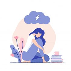 health design Sad, unhappy young woman sitting under dark cloud. Illustration Design Plat, Forest Illustration, Character Illustration, Digital Illustration, Graphic Illustration, Woman Illustration, Vector Illustrations, Watercolor Illustration, Vector Character