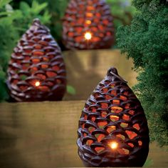 pinecone tealight lanterns via Monticello the shop