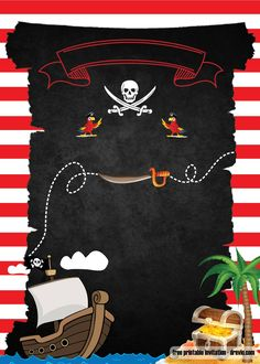 Pirate Party Invitation Template Free Awesome Free Printable Pirate Party Invita… – Invitation Ideas for 2020 Deco Pirate, Pirate Kids, Pirate Theme, Free Printable Birthday Invitations, Baby Shower, Cobra, Mermaid Birthday, Invitation Ideas, Dibujo