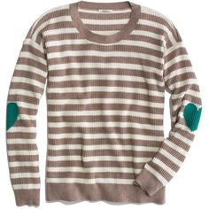 Madewell MADEWELL Thermal Sweater In Heartnote Stripe ($60) ❤ liked on Polyvore featuring tops, sweaters, brown striped sweater, thermal sweater, thermal tops, madewell and brown sweater