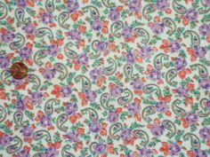 VINTAGE FEEDSACK FABRIC ~ Lavender Purple & Orange Paisley Cotton Flour Sack