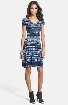 BCBGMAXAZRIA Cap Sleeve Intarsia Knit Sweater Dress (Regular & Petite) available at #Nordstrom