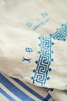 Antique/vintage linen with Greek Key pattern
