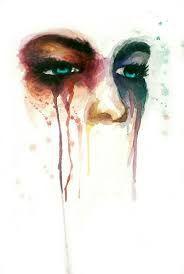 In dit schilderij zie je een gedeelte van een gezicht. Deze persoon is heel droevig of is blij. Dit kun je zien aan de ogen. Uit deze ogen stromen allemaal tranen. Er is gebruik gemaakt van verschillende kleuren, omdat iemand heel blij kan zijn en daardoor huilen en iemand kan heel verdrietig zijn en daardoor huilen.