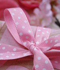 Pink and White Dotty Bow