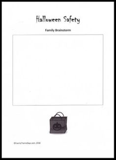 Halloween - Learning Activities:  FREE PRINTABLE Family Brainstorm Worksheet to review Halloween Safety Halloween Activities For Kids, Brainstorm, Learning Activities, Free Printables, Kindergarten, Safety, Ideas, Security Guard, Free Printable