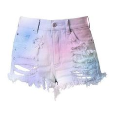 Pastel High Waisted Denim Shorts Destroyed Cotton Candy ❤ liked on Polyvore featuring shorts, high-waisted jean shorts, distressed denim shorts, high-waisted shorts, cotton shorts and ripped denim shorts