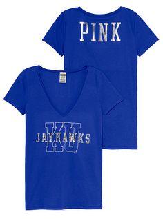 PINK University of Kansas Bling V-Neck Tee