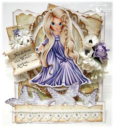 Kit and Clowder ~ SC Butterfly Princess ~ Copics: Skin: Hair: Dress: Scrapbook Journal, Scrapbook Page Layouts, Scrapbooking, 3d Cards, Cute Cards, Card Making Tutorials, Making Ideas, Online Coloring, Copics