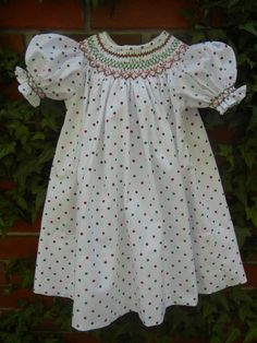 Christmas Bishop Dress Smocked with Red and Green by bobbosbobbins, $60.00