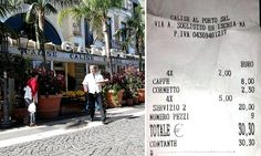 Italian restaurant charges 'service charge' for for four coffees Tourist Spots, Travel News, Mail Online, Daily Mail, Travelling, Restaurants, Restaurant