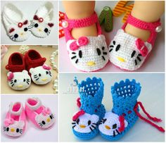 These adorable Crochet Hello Kitty slippers and booties are available in Baby and Toddler sizes. They'll make a beautiful gift.