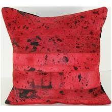 Leather/Velvet Pillow - 20 x 20 in. Red