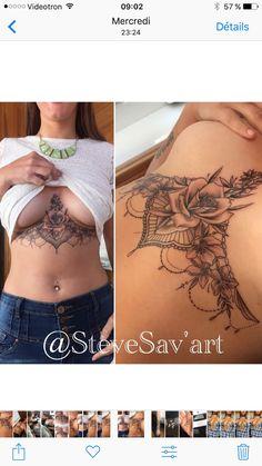 This underboob tattoo is beyond gorgeous! Dope Tattoos, Pretty Tattoos, Beautiful Tattoos, Body Art Tattoos, Girl Tattoos, Tattoos For Guys, Stomach Tattoos Women, Chest Tattoos For Women, Piercing Tattoo
