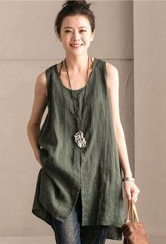 Green Cotton Linen Sleeveless Casual Long Vest Summer For Women clothes B636B