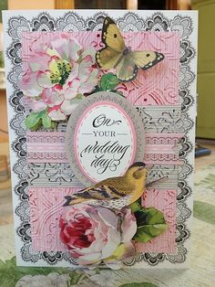 Anna Griffin handmade card with dimensional embossing and background stamping