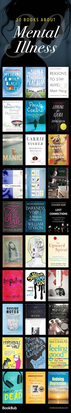 30 books about mental illness, depression, and anxiety. Including a mix of both inspirational and sad books. #mentalillness