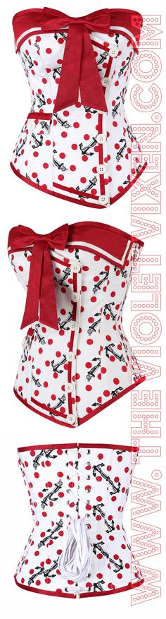 Ahoy there Sailor!  Hot Red Polka Dot and Anchor print steel boned corset with white button overlay.  <3 http://thevioletvixen.com/corsets/naughty-nautical-red-overbust-corset/