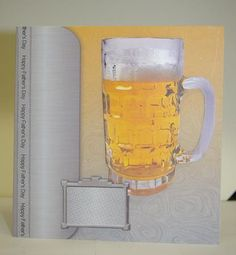 Beer for Father's Day 6x6 Quick Card on Craftsuprint designed by Sarah Edwards - made by Tracey Duckmanton - This is a great card for the men, i have made this for fathers day and Birthdays.Because it is so wide you can cut the Fathers Day ribbon off and make it for a Birthday.A really quick and realistic card. - Now available for download!