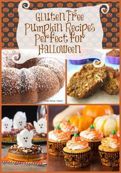 21 Gluten Free Pumpkin Recipes Perfect for Halloween Dairy Free Halloween Recipes, Healthy Halloween Treats, Easy Halloween Food, Halloween Desserts, Holiday Treats, Halloween Ideas, Holiday Recipes, Gluten Free Cupcakes, Gluten Free Desserts
